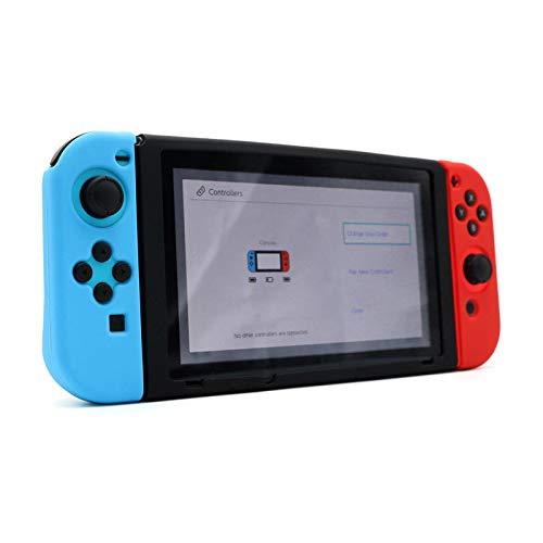 OSTENT Weicher Silikon-Schutz-Haut-Abdeckungs-Fall-Beutel-Halter für Nintendo Schalter-Konsole Farbe Schwarz + Rot + Blau