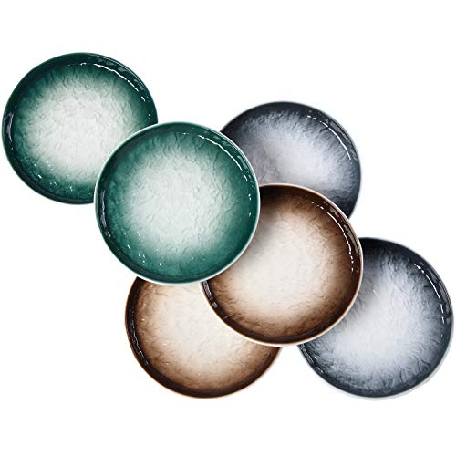 Eglaf 6'' Ceramic Round Dessert Plates - Porcelain Gradient Water Wave Embossed Texture - Small Appetizer Plates for Tea Party, Cake, Ice cream, Waffles, Apple Pie, Snacks (Set of 6 - 3 Colors Mix)