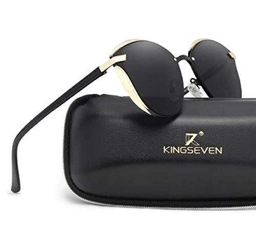 KINGSEVEN Polarisierte Sonnenbrille Damen Cateye Schwarz UV400 Premium