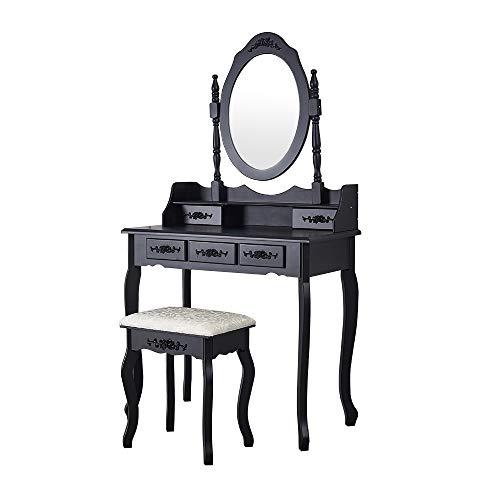 Panana - Tocador Blanco de Madera con Espejo y 5 Cajones Almacenaje Cosméticos Maquillaje Dormitorio (Negro)