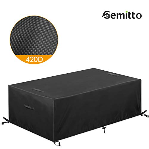 Essort Patio Furniture Covers, 420D Extra Large Outdoor Furniture Set Covers Waterproof, Rain Snow Dust Wind-Proof, Anti-UV, Fits for 12 Seats (124'x63'x29')