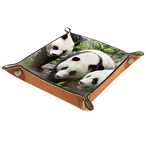 Bandeja de cuero,Gigante Panda Bear Comer ,Bandeja de cuero plegable para reloj...