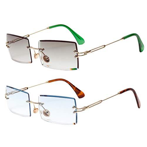 Sharplace 2X Gafas de Sol Sin Montura de Corte Rectangular Gafas con Lentes Teñidas Retro Verde + Azul