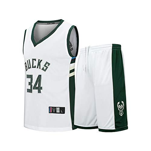 TJWD The Bucks 34# Antetokounmpo Retro Sleeveless Basketball Jersey Suit, Exquisite Embroidery Craftsmanship and Comfortable. Vest + Shorts.-White-XXXL