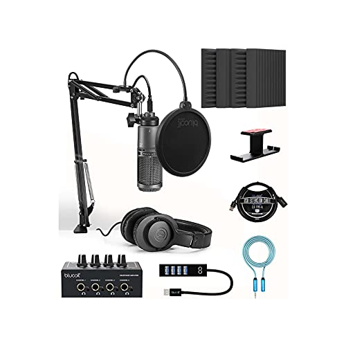"""Audio-Technica AT2020USB+PK Streaming/Podcasting Pack Bundle with Blucoil 4x 12"""" Acoustic Wedges, Portable Headphone Amp, Aluminum Headphone Hook, Pop Filter, USB-A Mini Hub and 3"""