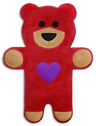 CUSCINO RISCALDABILE Leschi per la pancia, la schiena e la zona lombare Per coliche dei neonati e il ciclo Per microonde, con semi di grano Cuscino termico per bambini Teddy l'orso con cuore, rosso