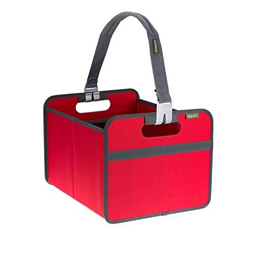 Shopper Bundle Hibiskus Rot / Uni stabil abwischbar Transport Autobox Tragegriff platzsparend Qualität Korb Picknick Ausflug Wochenende Einkäufe Vorratsraum