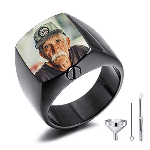 MeMeDIY Personalisierte Urne Ring Siegelring für Frauen Männer Haustier Gravur Farbe Bild Gedenktaschenhalter aus Edelstahl Souvenir mit Trichterbausatz Ringgrößeneinsteller (Schwarz Größe 65)
