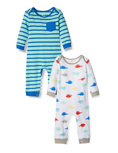 Amazon Essentials - Pack de 2 peleles para niño, Boy Dino, US 3-6M (EU 62-68)