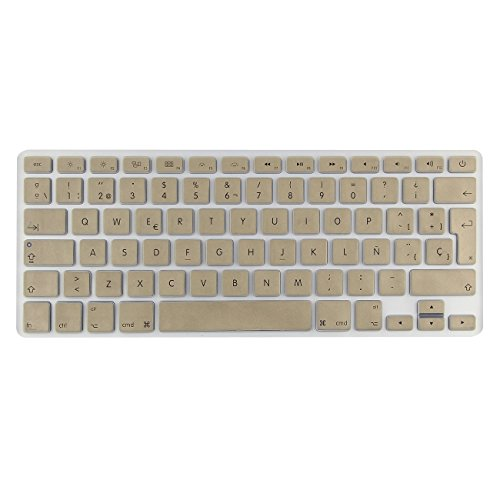 i-Buy Silicone Keyboard Cover Film for Macbook Air 13 Pro 13 Pro 15+ Touchpad Protector[teclado QWERTY español]- Gold