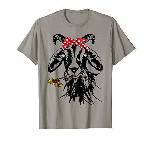 Women's Goats Bandana Farm Animal Lover Funny Goat Graphics T-Shirt