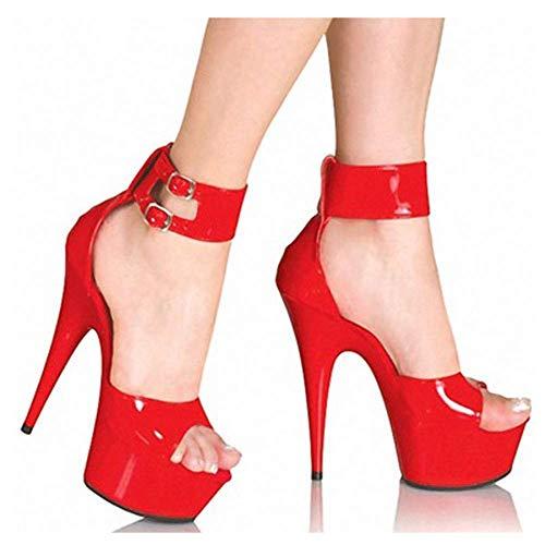 Schoenen Retro Wiggen Espadrilles Sandalen, Peep Toe Vrouwen Platform Gesp Enkel Strappy Dames Zomer Mode Leer Platte Lace Up 15 cm Hoge Hakken, Casual Comfy rood