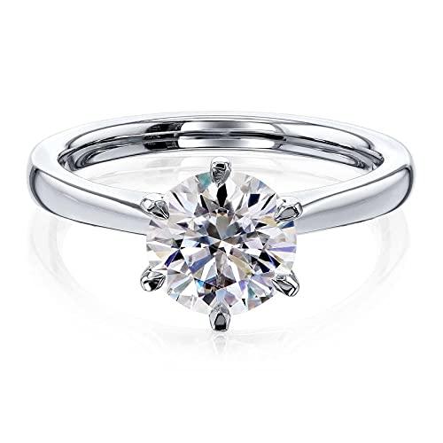 Anillo solitario de plata de ley 925 con diamante de moissanita de corte redondo blanco de 1,5 quilates para compromiso