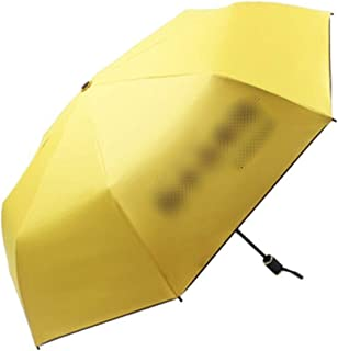 Umbrella Windproof Umbrella Folding Female Dual Use Folding Parasol Text Sun Protection UV Protection 2 People Available (Color : Yellow)