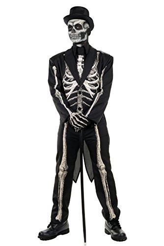贴身男骨冷骷髅燕尾服,黑色,成人一码