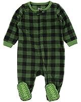 Leveret Kids & Toddler Boys Girls Footed Fleece Christmas Pajama Black & Green Plaid (Size 18-24 Months)