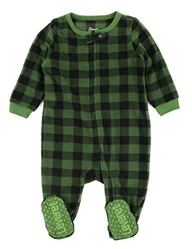 Leveret Kids & Toddler Boys Girls Footed Fleece Christmas Pajama Black & Green Plaid (Size 2 Years)