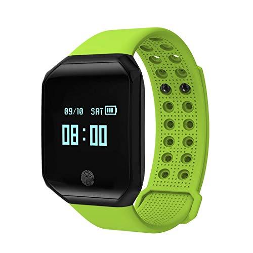 Zomeber Coloreada de la Pantalla rastreador de Ejercicios Inteligente Relojes Z66 0,95 Pulgadas de Pantalla OLED Bluetooth 4.2 Pulsera Inteligente, IP67 a Prueba de Agua (Negro) (Color : Green)
