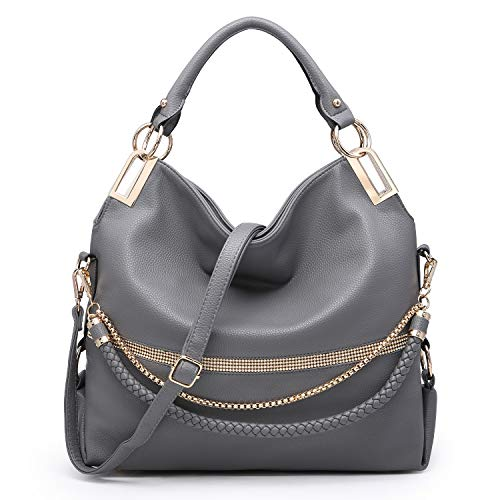 """MATERIAL: Soft pebbled vegan leather (PU) with gold tone shiny hardware and front rhinestone accents. 100% eco-friendly. No animals were harmed. DIMENSIONS: Top zip closure. 17""""W x 12.5""""H x 6""""D. Handle drop length: 8"""". Bonus shoulder strap (removable..."""