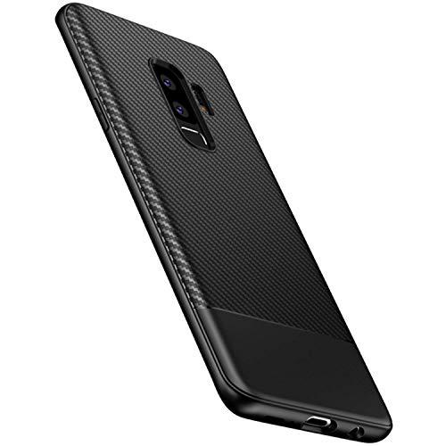 AVANA Hülle für Samsung Galaxy S9 Plus Schutzhülle Flexibles Slim Case Schwarz Schutz Silikon TPU Schale Kratzfest Kohlefaser Handyhülle Bumper Cover Carbon Optik