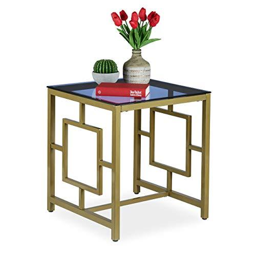 Relaxdays Bijzettafel, hoekige salontafel met glasplaat, geometrisch patroon, antiek, 54,5 x 50 x 50 cm, goud, metaal