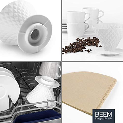 Beem Pour Over Kaffeefilter mit Standfuß - 4 Tassen   Classic Selection   Porzellan   Handfilter mit Diamantoptik   Inklusive 10x Papierfilter Größe 2   Spülmaschinengeeignet