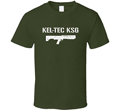 Threadsquad keltec KSG pistola militar envejecido T camiseta Militar verde