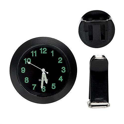 CuiGuoPing Auto Mini-Uhr, mit Entlüftungsclip, Chrommetall, Rund (Schwarz)