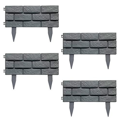 INFILM 4 piezas de valla decorativa de jardín, borde de piedra de simulación de borde de piedra de la cama de la flor de la valla de plástico, enclavamiento de paisajismo estacas barrera de perro
