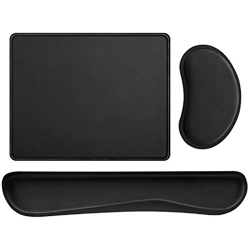 JSD Gel Mouse Pad with Wrist Rests and Memory Foam Keyboard Wrist Rest Pad and Mouse Pad with Stitched Edges