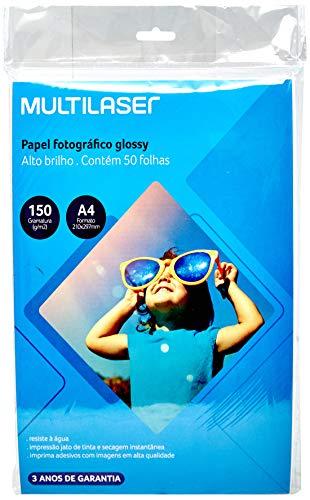 Glossy Paper Multilaser A4 150G C/ 50 Folhas - Branco - PE003