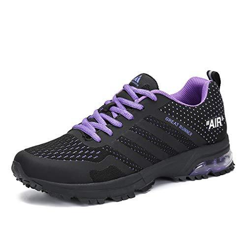 Laufschuhe Herren Damen Sportschuhe Leichte Turnschuhe rutschfeste Atmungsaktive Sneaker Mesh Running Schuhe Männer Frauen Violett 38 EU