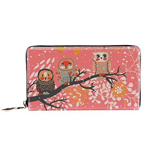 XCNGG Monedero de cuero con diseño de búho de dibujos animados de color rosa, carteras, tarjetero, embrague con muchos bolsillos para mujeres, hombres, niñas, niños, pequeña cartera compacta, plegable