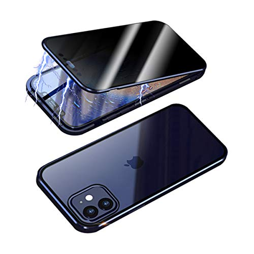 RANYOK Privacy Magnetic Adsorption Case Compatible with iPhone 12 Pro Max (6.7 inch), Double-Sided Tempered Glass with Built-in Screen Protector 360° Full Body Metal Frame Cover (Navy Blue)