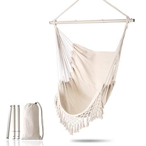 Chihee Hängesessel Großer entspannender hängender Schaukelstuhl Baumwollgewebe für überlegenen Komfort Elegante Quasten Kreative Spreizstange aus Edelstahl 3-teilige Kombination Abnehmbar