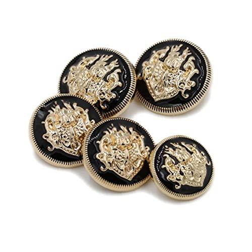 Botones De Metal Oro para Costura Abrigo De Punto DIY Lions Doble DIY Botones Elegantes 10pcs