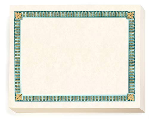 Price comparison product image Tan / Teal Essentials Certificates,  8 1 / 2 inch x 11 inch,  28lb White Parchment Stock,  100 Count