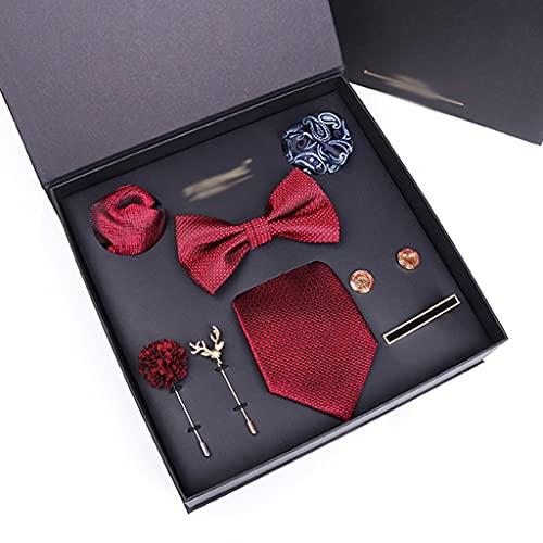 XJJZS Fashion Silk Jacquard Tie Cufflink Set Lazos para Hombres Boda de Negocios (Color : D)