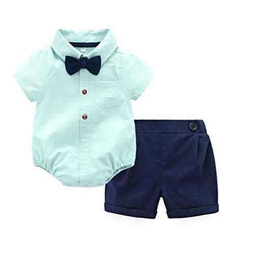 JUTOO 2 Stücke Set Infant Baby Boy Gentleman Anzüge Kurzarm Strampler Hemd + Shorts Outfit Set (Grün,70)