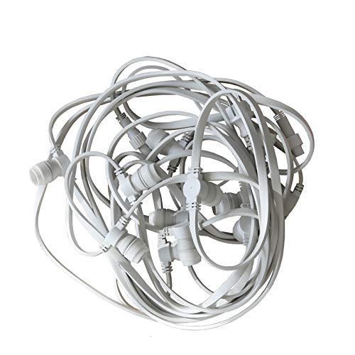 Limão – Guirnalda profesional con cable plano – 12 metros / 12 boquillas B22, color blanco