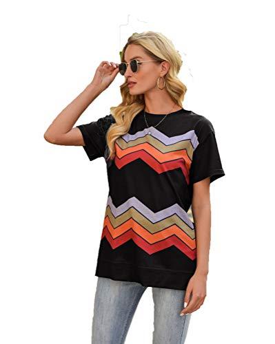 SLYZ 2021 Europa Y América, Primavera Y Verano, Nueva Blusa para Mujer, Estampado A Rayas, Cuello Redondo, Camiseta De Manga Corta, Mujer