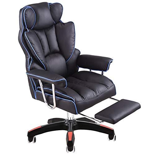 ADHKCF Sillón reclinable de cuero con alas Sillón giratorio de masaje Silla de escritorio de oficina Respaldo alto Sillón de juegos ejecutivo para computadora Mecanismo de inclinación sincronizada de