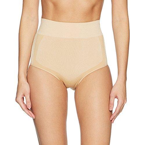 Amazon Brand - Arabella Women's Shine and Matte Seamless High Waist Shapewear Brief, Sand, Large