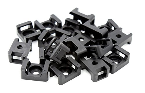iExcell 100 Pcs Black 9 mm Cable Tie Base Saddle Type Mount Wire Holder