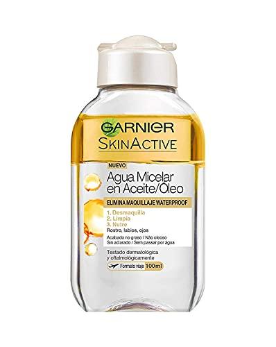Garnier Skin Active - Agua Micelar en Aceite, Elimina el Maquillaje Waterpoof, Formato Viaje - 100 ml