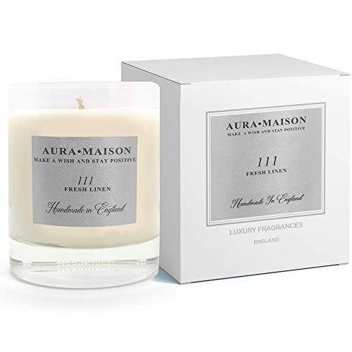 Aura Maison Scented Candle 30cl - Fresh Linen Tranquil & Clean Cotton Vanilla Scent With Essential Oil Aromatherapy - Natural Soy Wax for Bath Spa Meditation, Relaxation - UK Medium Up To 50Hrs