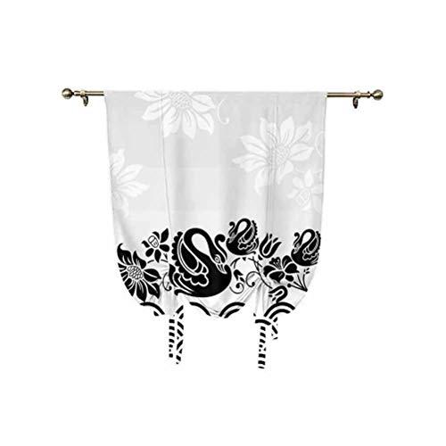 Cortina romana de cisnes, cisnes para natación en olas abstractas con patrón de flores en espiral, aislamiento térmico, globos romanos, 137 x 150 cm, para cocina, dormitorio de niños, negro y blanco
