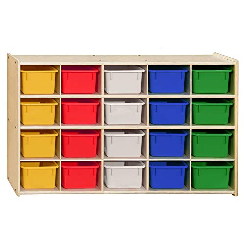 Contender Cubby Preschool Shelve for Classroom Storage Shelf with 20 Assorted Base Color Trays Best for Toy Storage, Stationary Organizer Perfect for Classrooms