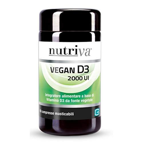 Nutriva Vegan D3 2000 IU, Vitamina D3 di Origine Vegetale Adatta ai Vegani (60 capsule)