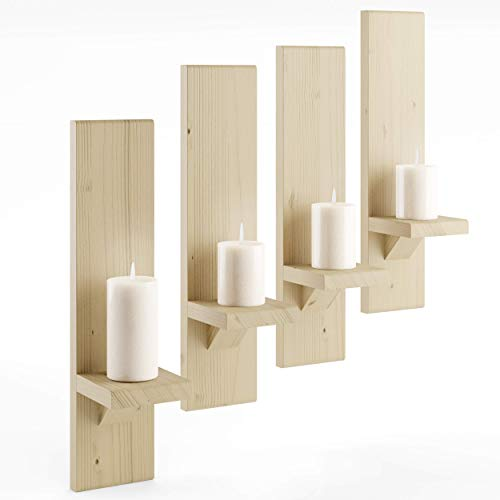 Rustikaler Kerzenhalter (4) | Wandhalter aus Holz | schwebende Regale | rustikale Stumpenkerzenleuchter | Hängeregal | Bauernhaus-Wanddekoration | großes Holz handgefertigt (Natur)
